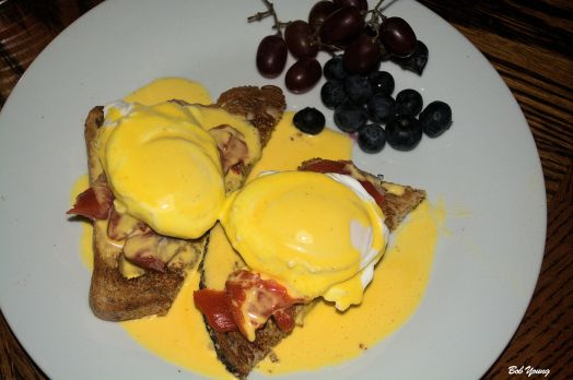 Meadowlark Farms Eggs Benedict Robin's Icebox Lox Easy Blender Hollandaise Sauce Acme Bake Shop Multi-Grain Toast Fresh Fruit