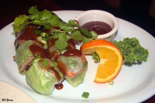 Marinated roasted duck and fresh veggies wrapped rice paper and served with special brown sauce. 4 pieces, $6.95