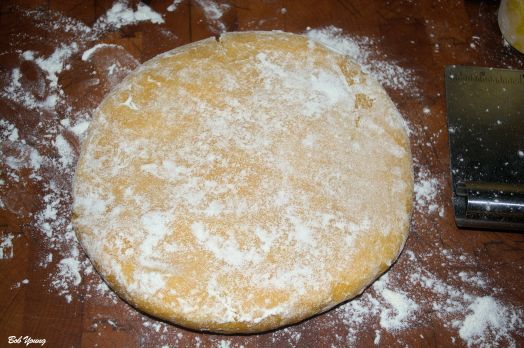 Remove from the refrigerator and flatten out. Flour well. Cut into thirds, or even quarters - I used quarters.