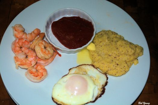 Fried Meadowlark Farms Eggs, Shrimp with Housemade Tartar Sauce and Idaho Grits A very good breakfast!