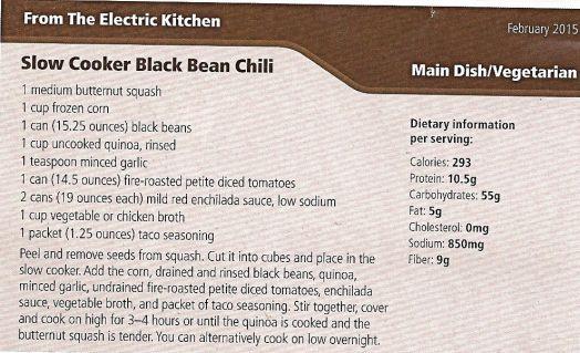 Crock Pot Black Bean Chili Recipe courtesy Idaho Power
