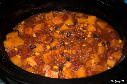 """The chili is in the crock pot getting """"happy""""."""