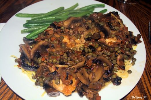 Chicken Marsala with Mushrooms Housemade Angel Hair Pasta Steamed Green Beans 2008 Frescobaldi Chianti Rufina