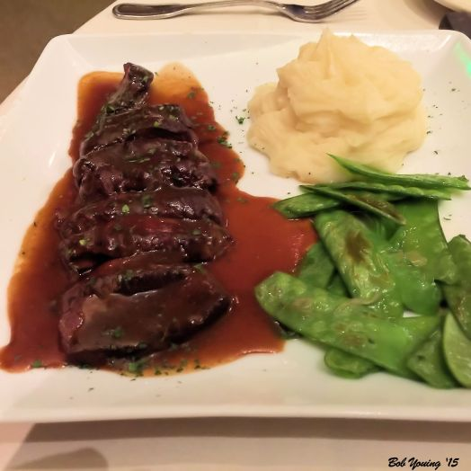 Kobe Beef with garlic mashed potatoes steamed peas