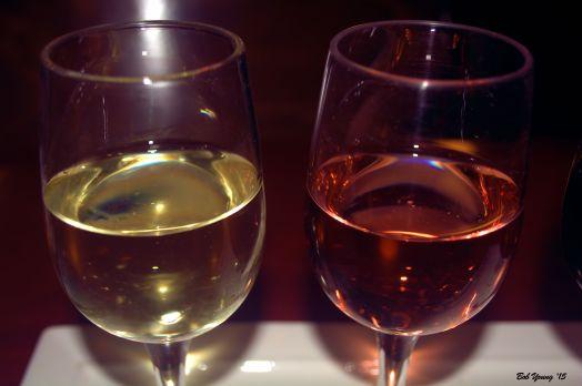(L-R) 201o Williamson Viognier and a 2012 Williamson Blossom. Both are delightful wines.