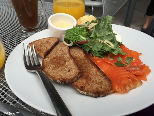 """Rizza"" Cured Steelhead Lox Loganics Farm baby greens salad, Acme Bake Shop German rye toast, creme fraiche"