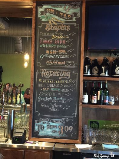 The beer/ale menu.