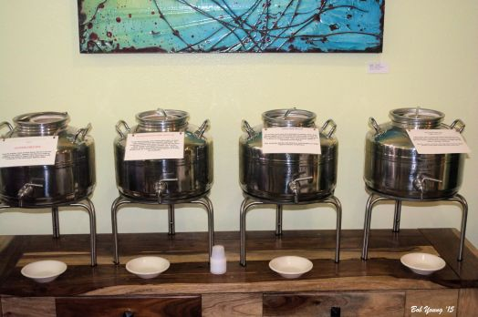 "Here is how you get to sample some different olive oils. These ""tanks"" are located throughout the store."