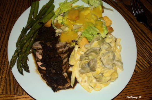 Pan SearedPork Tenderloin with Rosemary Balsamic Steamed Asparagus Green Salad Housemade Pasta with Artichokes in a Cheese Sauce 2010 Syringa SangioveseOrange Sauce