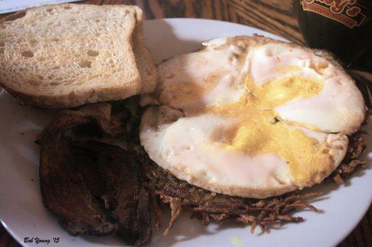 Falls Brand Bacon Acme Sourdough Toast Burley Potatoes Jasmine Tea Mock Fried Eggs from Meadowlark Farms