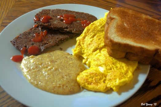 Scrapple with Ketchup Scrambled Idaho Fresh Eggs Fresh Idaho Polenta (Grits) Toast