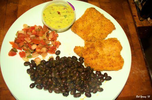 Robin ordered -Black Beans Pico de Gallo Guacamole Fried Polenta Cakes