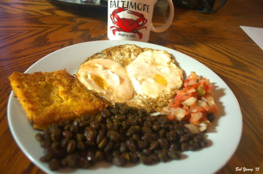 I ordered Black Beans Fried Polenta Cake Jasmine Mock Fried Eggs Pico de Gallo