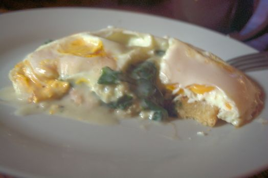 Sorry about the poor quality of this photo of the eggs as above. But it shows the layers of the breakfast.