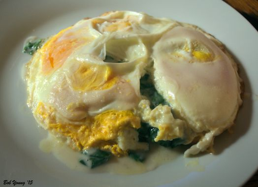 Coconut Milk Bechamel with Spinach Sourdough Toast Mock Fried Eggs