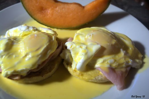 Eggs Benedict Black Forest Ham Toasted English Muffin Housemade Hollandaise Sauce Cantaloupe Wedge