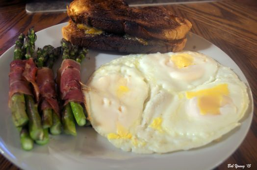 Mock Fried Eggs Prosciutto Wrapped Asparagus Toasted Brioche with Orange Marmalade