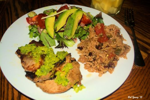 Pork and Sofrito Avocado Tomato Salad Brown Basmati Rice and Black Beans Mango Margaritas