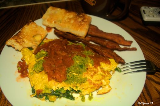 Spinach Omelet with rhubarb red sauce and sofrito Bacon Toasted Focaccia