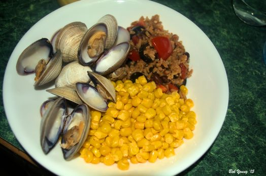 Steamed Clams Buttered Corn Black Olive, Tomato and Brown Basmati Rice Salad
