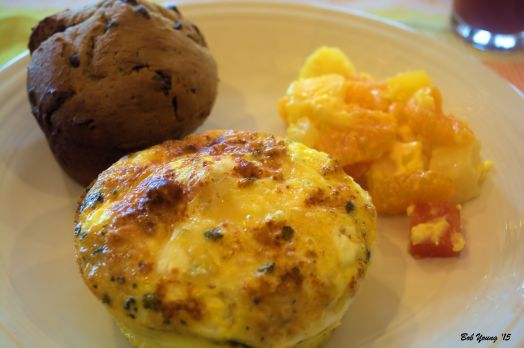 Frittata with Housemade Sausage Chocolate and Raisin Muffin Mixed Fruit