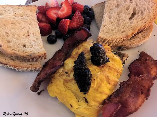 Fresh Morel Mushroom Omelet Strawberry and Blueberry Fruit Mix Toasted Acme Bake Shop Sourdough