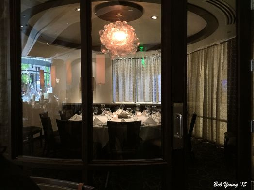 Private dining area that will accommodate 12 people. The fee is $50 for the room.