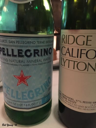 We brought our own 2005 Ridge Zinfandel ($10 corkage fee), but they do have a wide selection of wines.