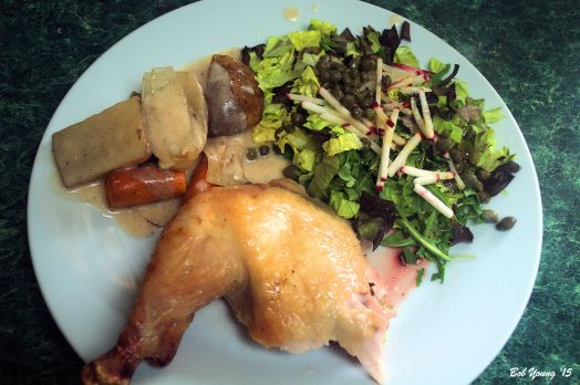 Römertopf Chicken Roasted Potatoes,  Onion and Carrot Drippings Gravy Green Arugula and Black Leaf Lettuce with capers, radish sticks Olive Oil, Lime Zest and Juice and Honey Dressing