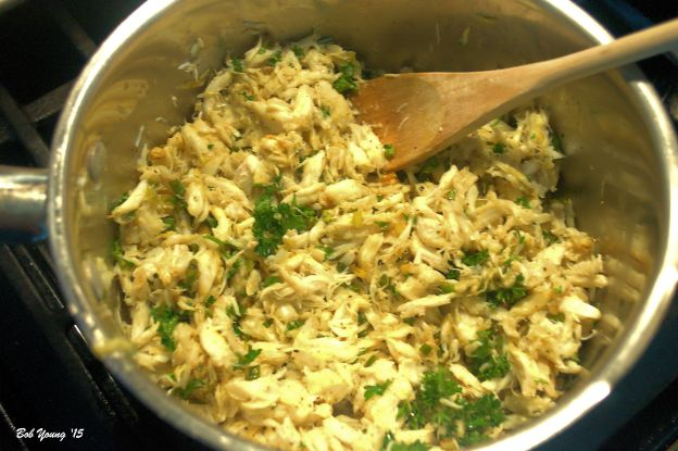Mix the crab mixture with the cooked green onion/garlic scape mixture.