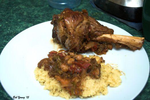Tagine Lamb Shank Couscous with Tagine Vegetables 2012 Koenig Vineyards Devil's Bedstead Zinfandel