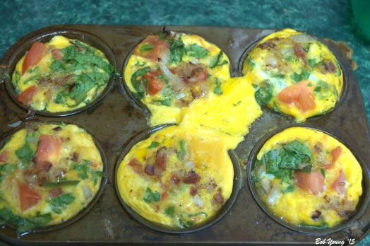 Egg Souffles coming our of the oven. Baked at 375 degrees F for 20 minutes.