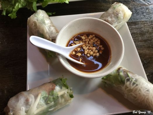 Fresh Summer Roll Soft rice paper wrapped with your choice of pork and shrimp, grilled salmon, grilled pork or shrimp, onion and bean sprouts. Wrap in a lettuce leaf, bean sprouts and herbs.