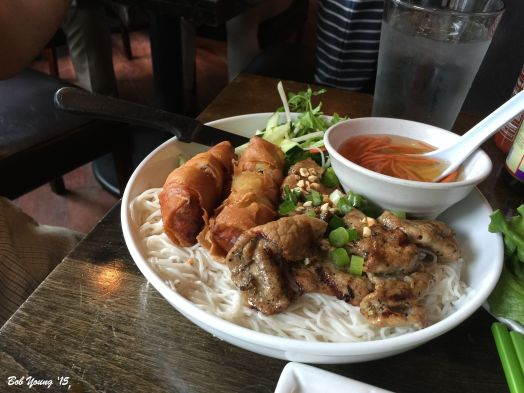 Grilled Pork and Crispy Spring Roll on Rice Noodles Spft rice vermicelli noodles, skewered grilled pork and crispy spring rolls. Served with shredded lettuce, beansprouts and cilantro. A sweet/sour dipping sauce is served with it.