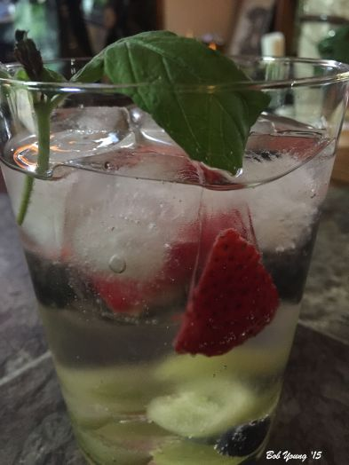 Hnedrick's Gin and Tonic with strawberries, white grapes and blueberries Deliciously refreshing on a hot summer day. The hint of cucumber in the gin - that is what makes Hendrick's Gin so wonderful - really adds to the fruitiness of the drink. Plus, it is a pretty drink! Enjoy!