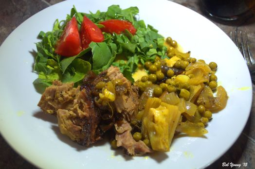 Tagine of Lamb with Peas and Fennel Fresh Spinach and Tomato Salad with Meyer Lemon Olive Oil and Tarragon Vinegar