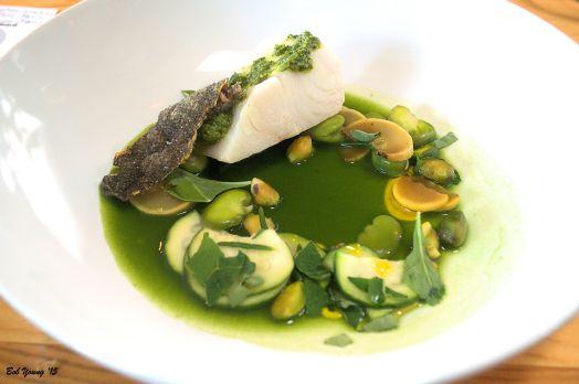 Summer Squash & Fava Beans Black Cod. Sea Beans Nasturtium Taft Street – Chardonnay