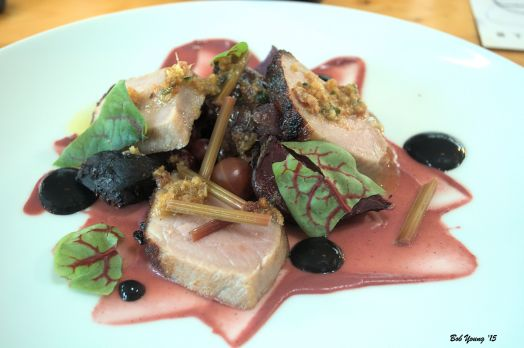 "Beets & New Potato Pork. Gooseberry. Sorrel Domaine Gayda – ""Flying Solo"" Grenache/Syrah"