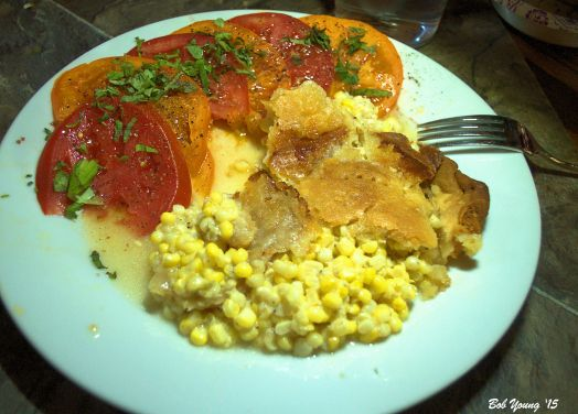 Corn Pie Farm Fresh Sliced Yellow and Red Tomatoes with Basil Threads and Hawaiian Sea Salt.