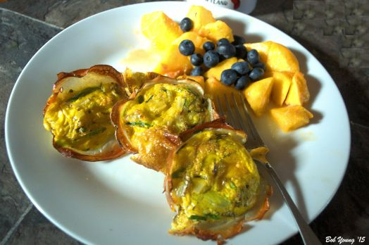 Eggs in Potato Pockets Fresh Peaches and Blueberries