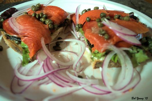 Lox and cream Cheese cream cheese, red lettuce, shaved onion,  capers, homemade lox