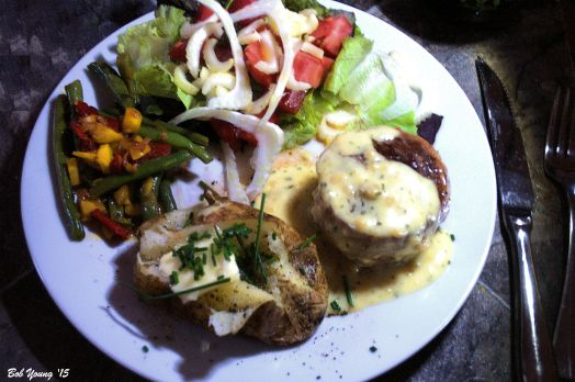 Baked Potato with Chives Braised Fresh Green Beans, Carrots and Roasted Peppers Green Salad with Fresh Tomatoes, Fennel and Celery Bacon Wrapped Beef Tenderloin with Bernaise Sauce