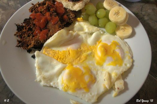 Scrapple Fresh Grapes and Bananas Toasted Basque Bread Basted Eggs