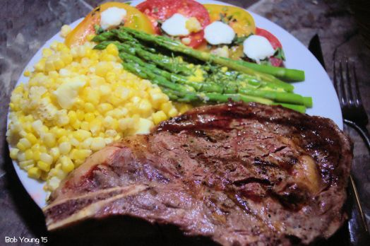 Home Stead Foods Rib Steak Asparagus with Bearnaise Sauce True Roots Heirloom Tomatoes with Purple Sage Basil Threads