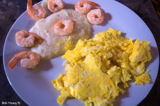 Scrambled Eggs Grits and Shrimp