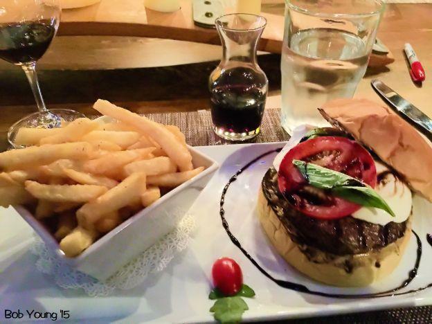 Borah Burger - Idaho Kobe beef, fresh mozzarella, basil, tomato, balsamic reduction, roasted garlic aioli, brioche bun
