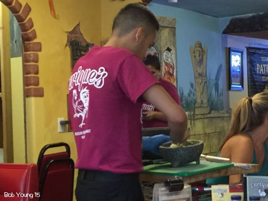 Maybe you would like some fresh guacamole made right at your table. This young man had great knife skills!