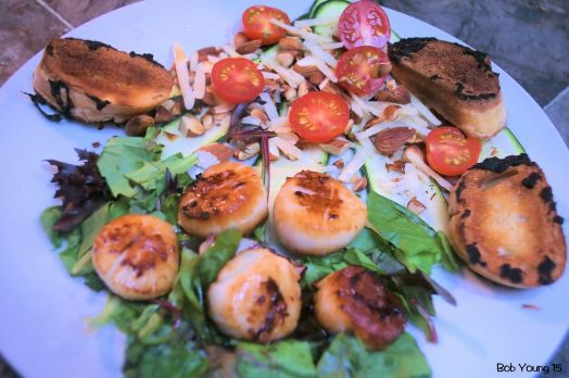 Braised Scallops Shaved Zucchini Salad with Tomatoes Basil and Cheese