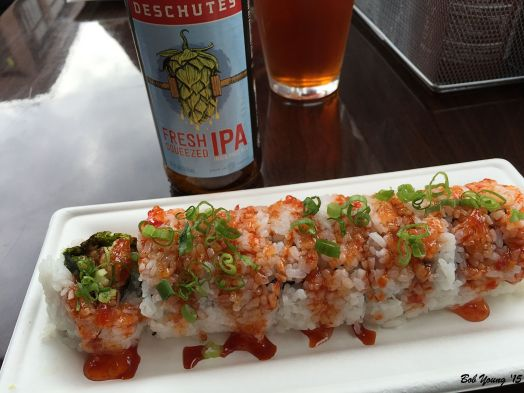 I had the Bangkok Roll. A little spicy and the addition of some fresh mint made a tasty sushi roll.