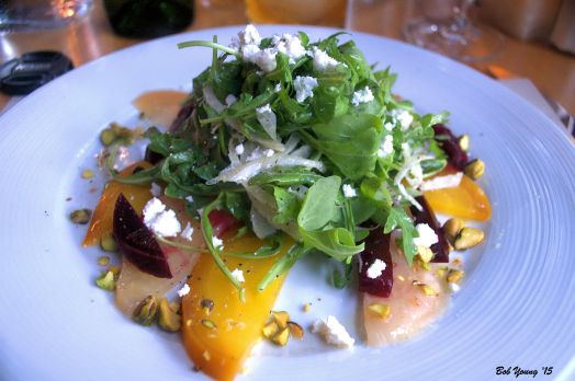 Heirloom Beet Salad rainbow beets, shavel fennel, arugula, Rolling Stone goat cheese feta, toasted pistachios and champagne vinaigrette